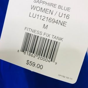 Lucy Tops - NWT Lucy Fitness Fix Tank Sapphire Blue szM